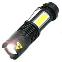 Supersmidig och praktisk LED-ficklampa med zoom och upp till 200lm ljusstyrka. COB-LED på sidan. Liten och smidig med mycket kraft.