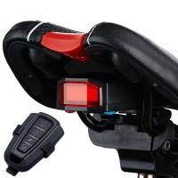 Multifunktionellt bakljus till din cykel med larm och högtalare på 110dB.Styr enheten lätt med medföljande fjärrkontroll och ladda upp med MicroUSB.
