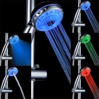 Duschhandtag med LED som ändrar färger beroende på temperatur. Miljövänligt då duschmunstycket skapar ström från vattenflödet.