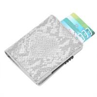 Halpa RFID-suojattu pop-up-korttilompakko kalliin näköisellä kuosilla - valkoisella keinokäärmeennahalla! Kompakti lompakko, johon mahtuu yhteensä 9 korttia.