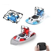 3-in-1 lelu, jossa yhdistyy drone, hydrokopteri ja tasoja pitkin liitävä auto. Drone on vakaa ja sitä on aloittelijankin helppo lentää.