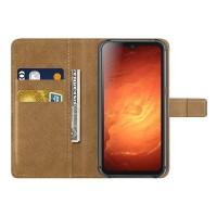 Blackview'n BV9800 ja BV9800 Pro älypuhelimien flip-cover suojakotelo, joka suojaa puhelintasi. Kanteen menee muutama kortti ja piilotaskuun lisää.