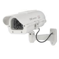 Sään kestävä valevalvontakamera ulkokäyttöön pitää sisällään aidon näköisen linssin ja IR-LEDit, sekä aitoa valvonnan tuntua luomaan myös vilkkuvan LED-valon.