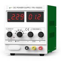 Bestool justerbar DC-strömförsörjning med justerbar effekt på upp till 15V / 2A. Den högkvalitativa strömförsörjningen har ett flertal skydd för säker användning.