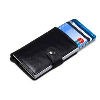 RFID-skyddad pop-up-kortplånbok i konstläder. Kompakt och perfekt för förvaring av sedlar och kort.