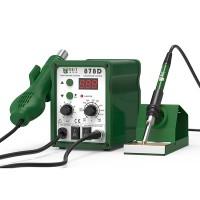 Ett 2-i-1-verktyg som kombinerar en varmluftspistol och en lödkolv för att hjälpa till med hushållens elektriska arbete. Den digitala skärmen ger nödvändig information. Ett års garanti.