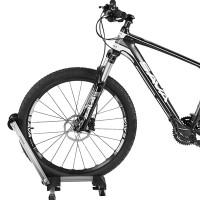 """Taitettava ja kätevä polkupyörän teline joka sopii 24-27,5"""" renkaille, sekä 700C kokoisille renkaille. Tukeva teline on valmistettu laadukkaasta alumiinista."""