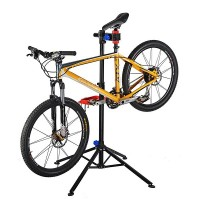 Kokoon taittuva polkupyörän huoltoteline säädettävällä korkeudella. Nelijalka pitää pyörän kokonaan ilmassa ja tukevasti pystyssä huoltotoimenpiteitä varten.