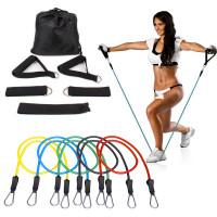 Vastuskuminauha-setti, jolla treenaat helposti kohti haluamaasi vartalomallia! 5 eri vastustason nauhaa ja erilaisia kahvoja, joilla voi treenata koko kroppaa.