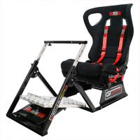 Next Level Racing GTUltimate V2 -ajotuoli tarjoaa ennennäkemättömän ajokokemuksen. Säädä ratti, penkki ja polkimet haluamaasi asentoon, ja mestaruustaistosi voi alkaa!