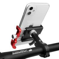 Todella jämäkkä täysalumiininen puhelinteline polkupyörän tai moottoripyörän ohjaustankoon.