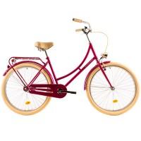 Laadukas naisten kaupunkipyörä DHS Citadinne. Polkupyörän vaaleat renkaat, satula ja tupet tuovat hienoa ja autenttista retro tyyliä. Lamput ja kello vakiona.