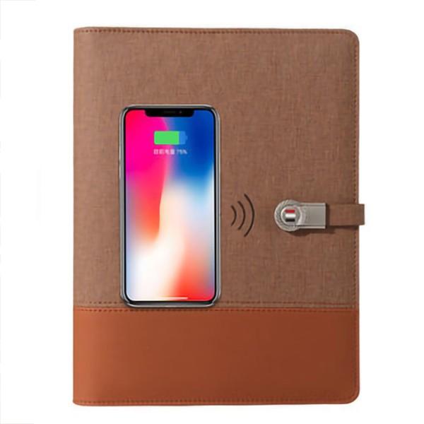 Notebook med powerbank 8000 mAh og trådløs oplader