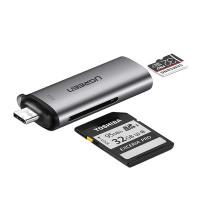 UGREEN 2-i-1 USB Type-C / USB 3.0-minneskortsläsare är extremt praktisk och inkluderar SD / TF-kortläsare, kan även anslutas till en telefon eller bärbar dator.