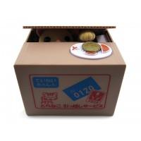 Todella hellyyttävä panda tai kissa kurkistaa laatikon sisältä ja nappaa laatikon päälle laittamasi kolikon talteen. Hyvä lahjaidea!