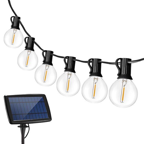 Hehkulamppu valosarja aurinkopaneelilla 25 kpl