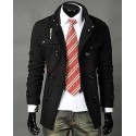 New Style Double-Breasted Stand Collar Medium Style Men Overcoats