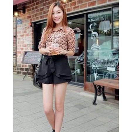 Slim Bowknot Pattern Elastic Waist Cotton Blends Women Shorts - L, Military Green