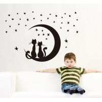 Removable Wall Stickers  Cats in Moon & Stars