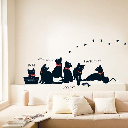 Musta kissa sisustustarra
