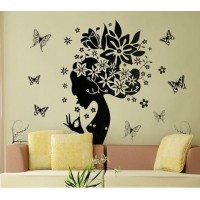 Removable Wall Stickers  Women with Flowers