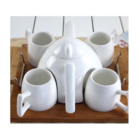 White handle tea set - Valkoinen kahva teesetti