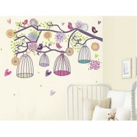 Removable wall stickers  Colorful bird cage