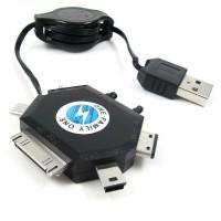 Laddningskabel med automatiskt upprullande kabelvinda och 6st olika uttag för surfplattor, telefoner och USB-utrustning.