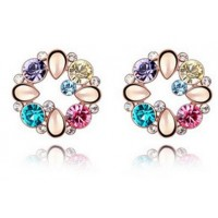 Crystal Earring   Colorful Flower