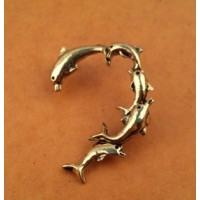 Antique Bronze Ear Clip  Dolphins